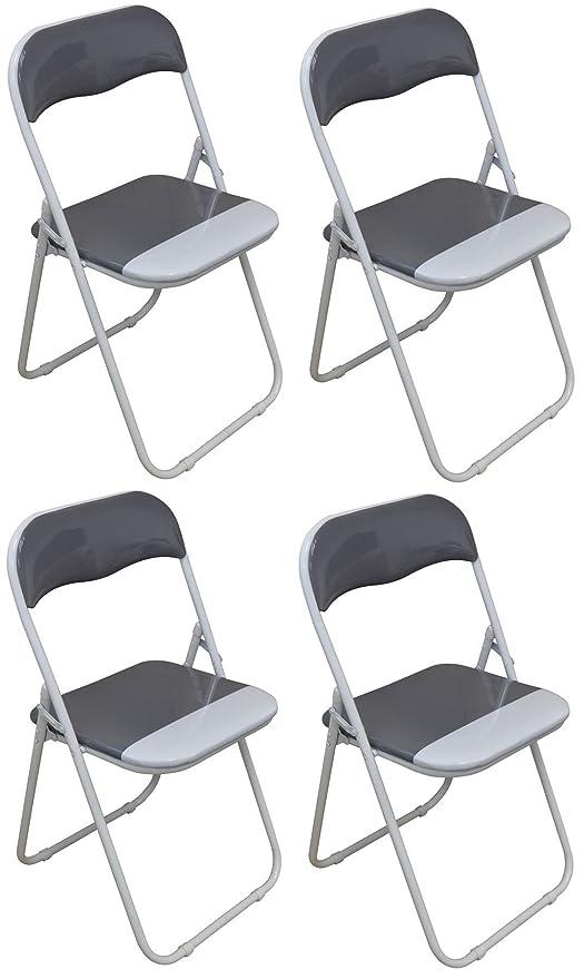 Silla plegable de escritoria acolchado, gris y blanco - 4 sillas