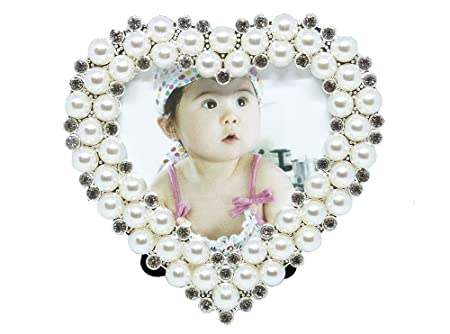 Small Heart Shaped Photo Frame 3 X 3 Pearl Silver By Haysoms