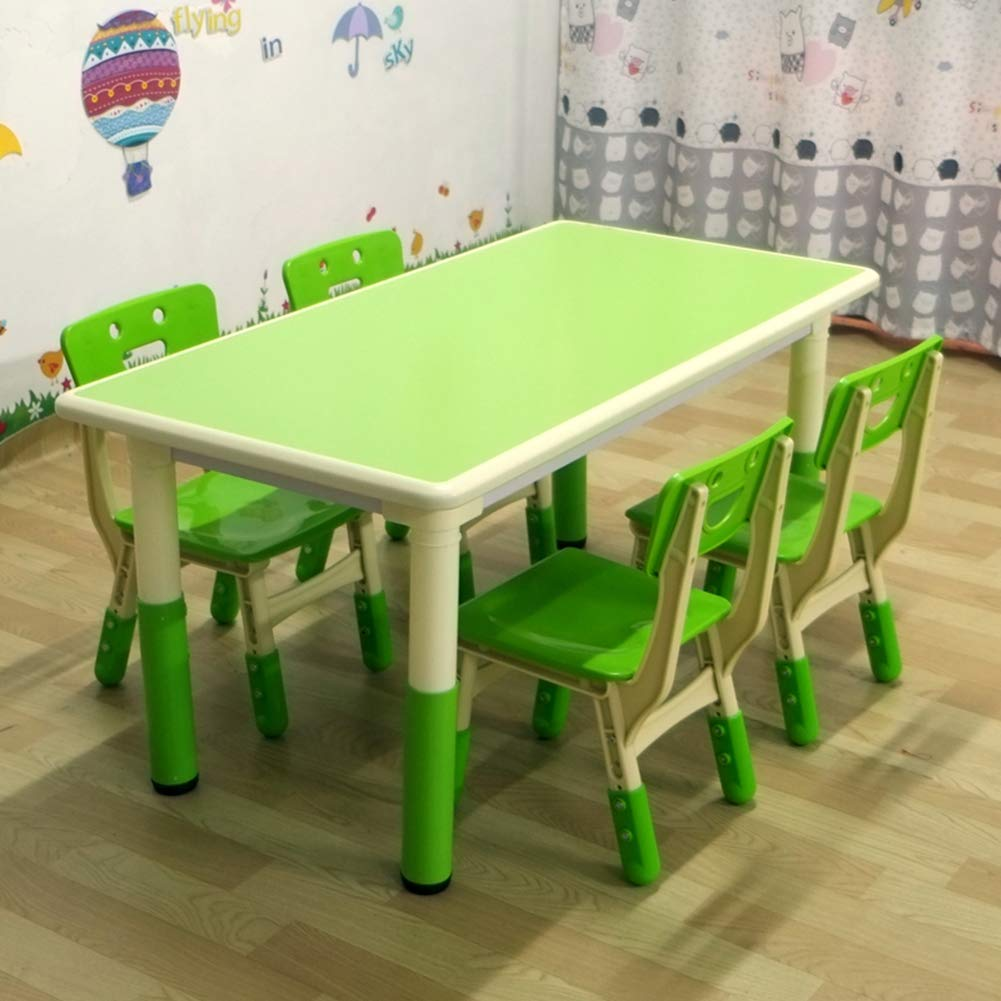 1 Table + 4 chairs HHXD Green Kids Table, Height Adjustable School Table and Chair Set, Rectangular Learning Game Activity Table, NonSlip Solid, Easy to Clean   1 Chair