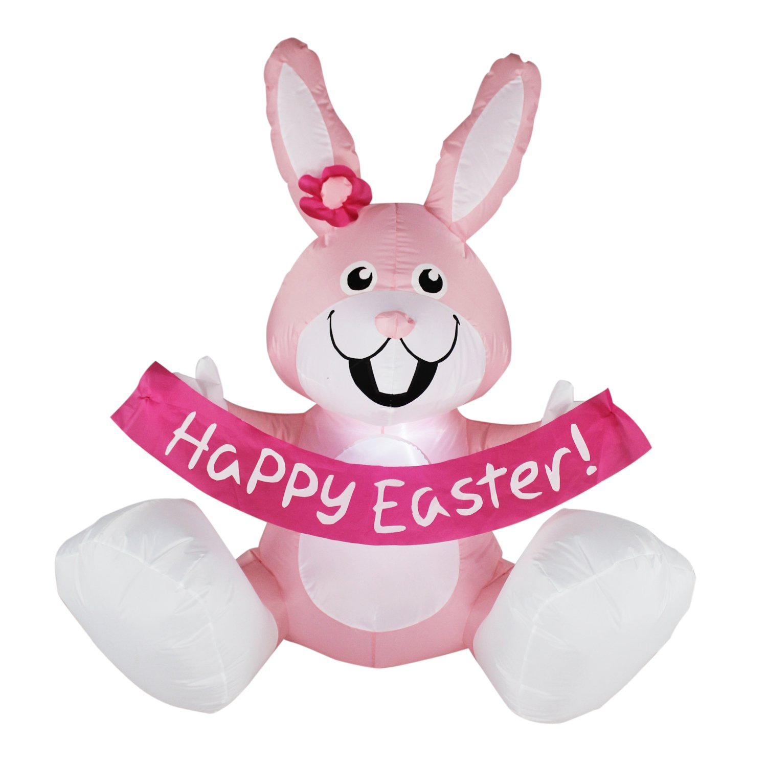BIGJOYS SEASONBLOW 4 Ft Inflatable Happy Easter Rabbit Airblown LED Lighted Bunny Yard Indoor Outdoor Home Decoration Pink by BIGJOYS