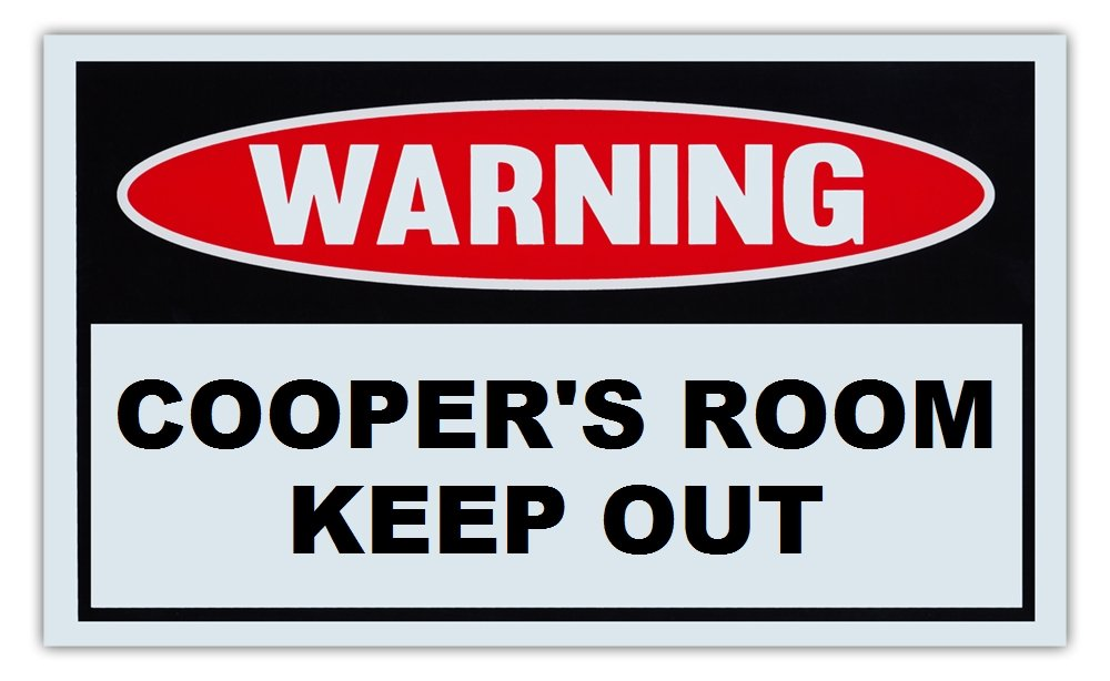 For Boys Kids Novelty Warning Sign: Coopers Room Keep Out Children 10 x 6 Plastic Sign Girls Post on Bedroom Door