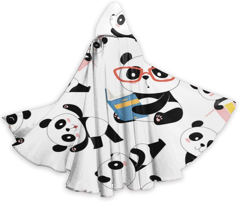 Esmund Patrón de Panda Tradicional asiático Lindo China bebé Ropa de Mujer túnica con Capucha Encaje Retro pulóver Alto bajo Largo Vestido con Capucha