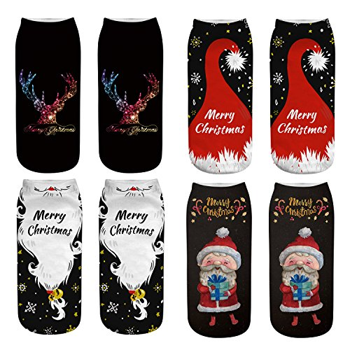 Women's Funny Casual Novelty Cartoon Low Cut Socks Dog Chritsmas Animal Print No Show Ankle Socks for Girls 4 Pack-Christmas A SC11A -