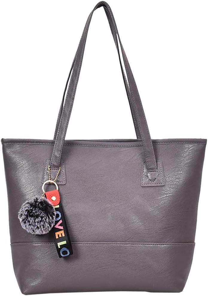 Women Student Pure Color Leather Shoulder Bag School Bag Tote Backpack Black