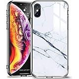 ESR iPhone Xs / X ケース ガラス背面 TPUバンパー 5.8インチ ネイキッド(白大理石)