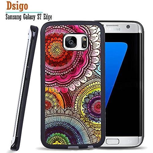 Galaxy S7 Edge Case, Samsung S7 Edge Black Case, Dsigo TPU Black Full Cover Protective Case for New Samsung Galaxy S7 Edge - Retro floral Sales