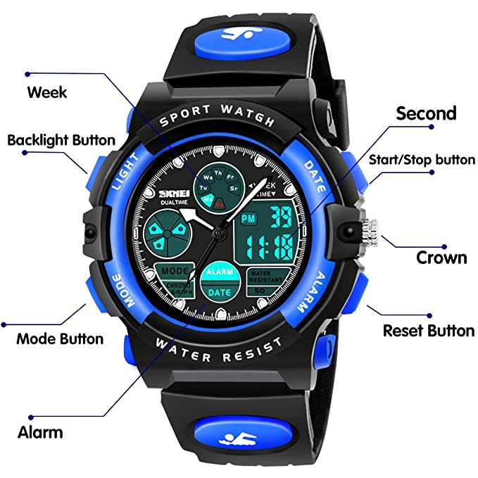 SoKy Reloj Deportivo Niño Niña Reloj Inteligente Impermeable LED Digital Relojes Infantil