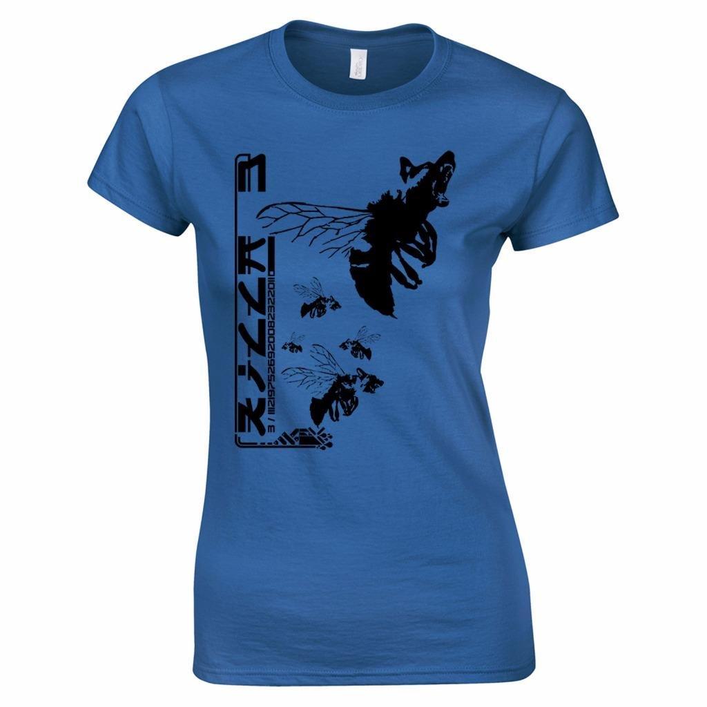 Bang Tidy Clothing Camiseta de Mujer en Azul Oscuro Talla L con mutante Perro-Abeja asesina con Estampado japonés: Amazon.es: Ropa y accesorios