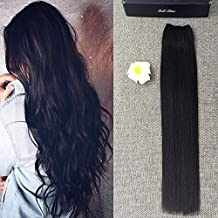Full Shine 16 inch Width 11 inch Halo Hair Extensions One Piece 80g Flip in Real Off Black #1b Human Hair Double Weft Hairpieces No Clip in