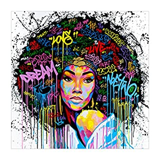 GUAngqi Women Unframed Canvas Printing Wall Decor Painting Art Canvas African  American Wall Art