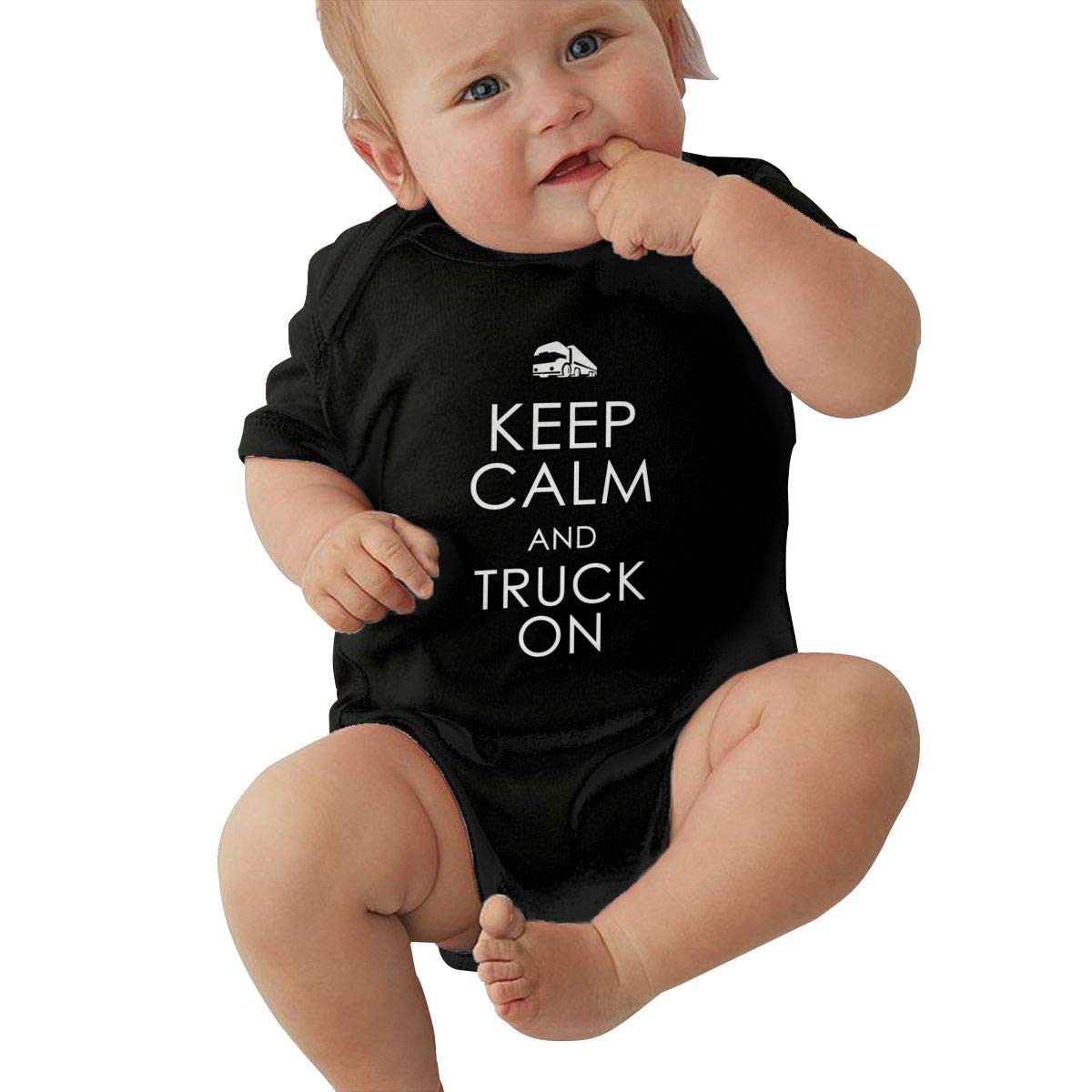 Newborn Baby Girls Bodysuit Short-Sleeve Onesie Keep Calm Truck On Print Jumpsuit