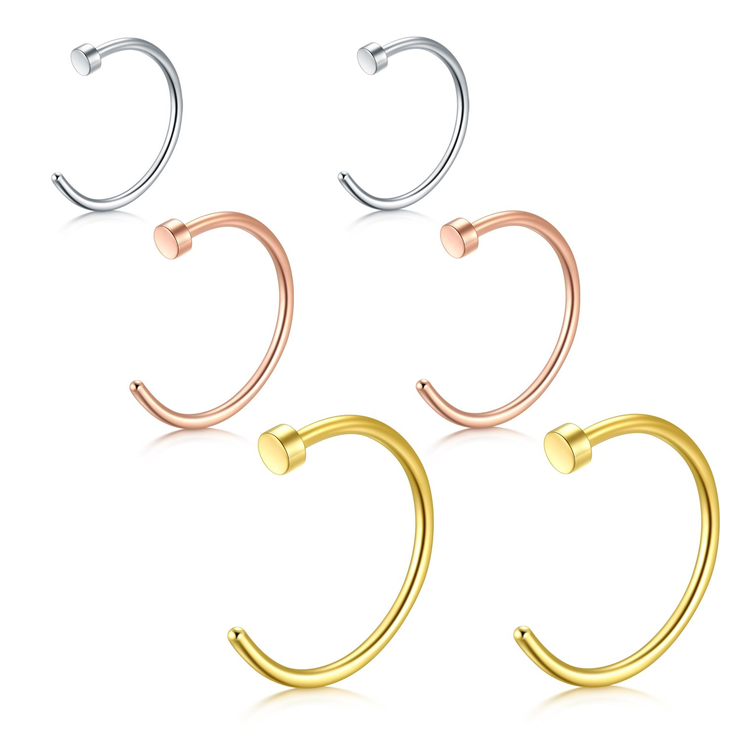 vcmart Nose Rings Hoop Ear Helix Cartilage Tragus Earrings C Shape 18G Stainless Steel Lip Rings Piercing Jewelry 3prs 5/16'-3/8'-1/2' LBHD1876S
