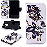 Galaxy A8 2018 Wallet Case,PU Leather Cover for Samsung A8 2018,Leecase Retro Cool Pretty Black Butterfly Flower Pattern Design Flip Stand Phone Case Cover Wallet Handset Shell Bookstyle Cellphone Skin Pouch with Magnetic Closure Card Slots Folio Protective Pocket Bumper Cover Skin for Samsung Galaxy A8 2018 + 1x Black Stylus