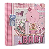 Arpan 200 Photos Baby Photo Album for 6x4 Photos with Baby Girl Pink Memo Slip – Perfect Gifting Album for Friends & Family with CD/DVD Pocket