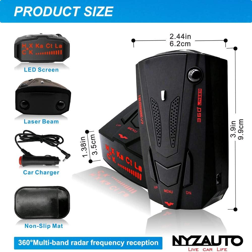 NYZAUTO Cars Radar Detector Highway//City Model 360/° Detection Radar Detector Voice Alert,Red Light//High Speed Camera Alerts