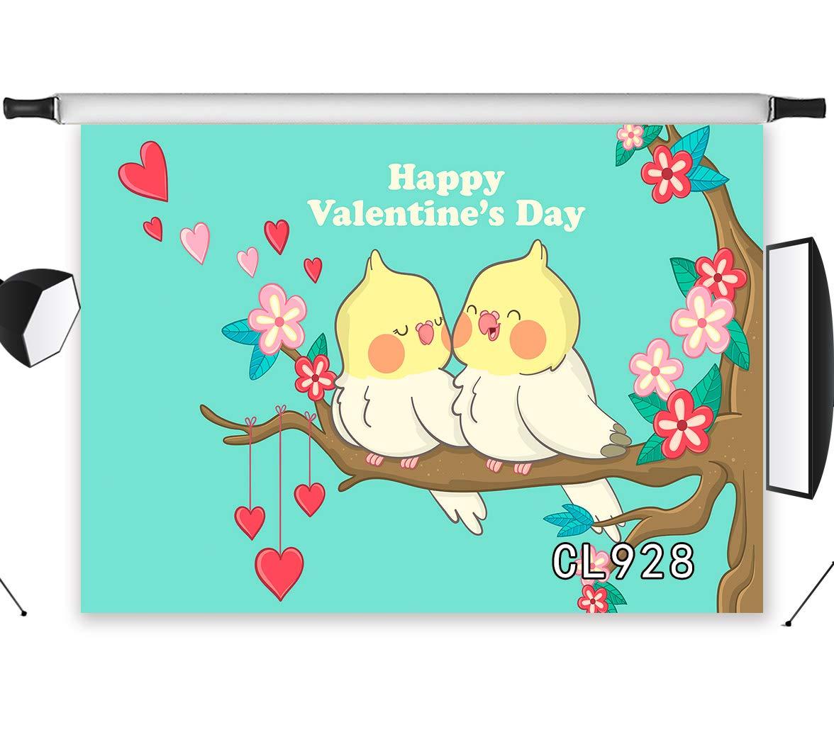 LB 写真撮影用背景幕 7×5フィート バレンタインデー 枝の上のマンガの鳥 写真背景 スタジオ小道具 ビニール カスタマイズ CL928   B07MC7BGKP