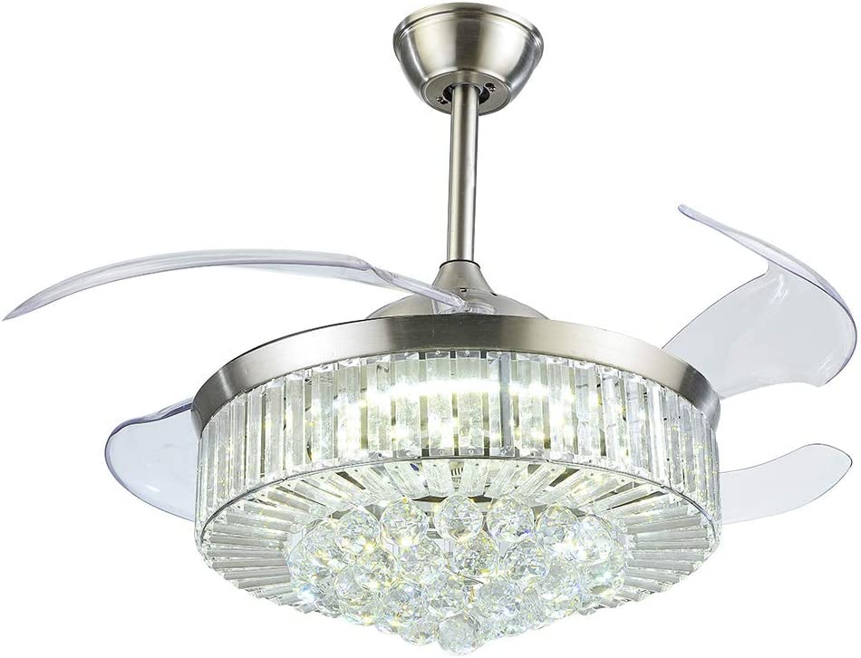 LUOLAX 42 inch Crystal Remote Control Ceiling Fan Light with Three-Color Change LED Retractable Blades Chandelier Decor Silver-Style 2
