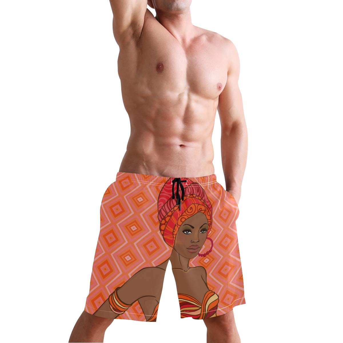 JERECY Mens Swim Trunks African Girl with Geometric Print Quick Dry Board Shorts with Drawstring and Pockets