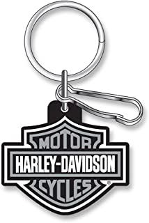 product image for Harley-Davidson Classic Bar & Shield Key Chain with Key Ring & Clip, Gray 4496