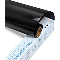 "Heat Transfer Vinyl Black HTV Vinyl Roll - 12"" x 5ft Black Iron on Vinyl for Cricut & Silhouette Cameo, Black HTV Vinyl…"