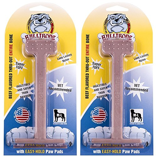 BULLIBONE DOG CHEW TOYS: Durable Dog Toys for Large Dogs and Aggressive Chewers. Long Lasting Beef Flavored Dog Chews Big Dogs Love (2 Pack)