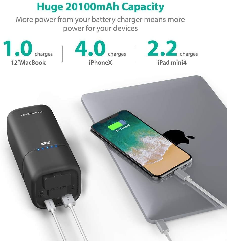 Macbook RAVPower Laptop Power Bank and Mobile Phones Upgraded AC Outlet 20100mAh External Battery Pack with USB C Port Travel External Portable Charger for Laptops