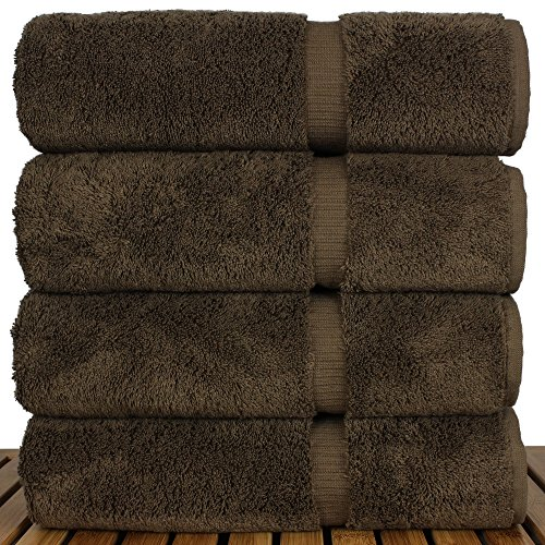 Luxury Premium long-stable Hotel & Spa Turkish Cotton 4-Piece Eco-Friendly Bath Towel Set (Cocoa) by Chakir Turkish Linens (Image #2)