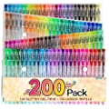 200 Color Glitter Gel Pen Set, Reaeon 100 Individual Gel Glitter Pens plus 100 Colors Refills, More Ink Largest Non-Toxic Art Neon Pen for Adults Coloring Books Craft Doodling Drawing