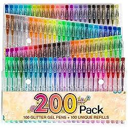 200 Glitter Gel Pen Set, 100 Gel Markers plus 100 Refills Glitter Neon Pen for Coloring Books Craft Doodling Drawing Bullet Journal Highlighter