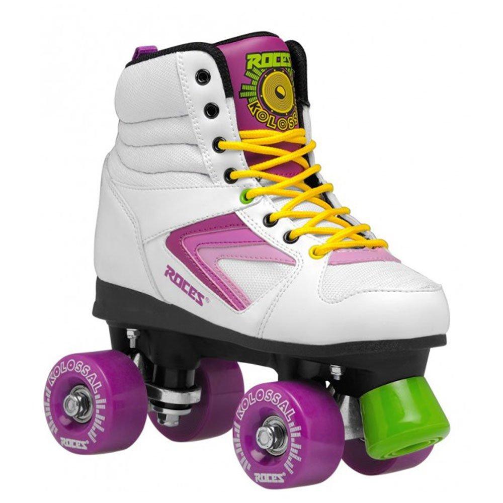 Roces 550041 Model Kolossal Roller Skate, US 5M/7W, White/Purple/Yellow