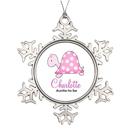 personalised christmas tree decoration pink turtle baby shower name tag home decorations ideas