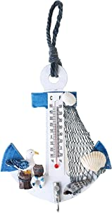 VORCOOL Beach Style Hanging Ornaments Anchor Wall Hooks Mini Thermometer Nautical Decor