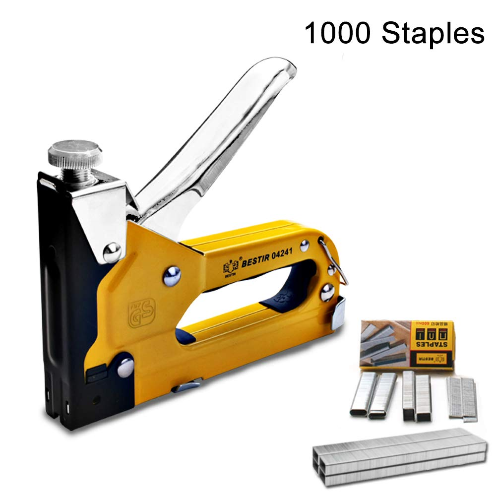 3-in-1 Staple Gun, Hand Operated Carbon Steel Brad Nail Gun, Tool for Fixing Material, Decoration, Carpentry, Furniture, Doors And Windows, Billboards, 1000 Staples Attached