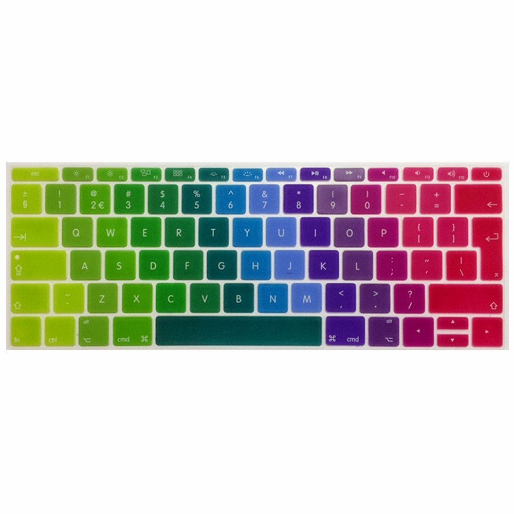 Se7enline 2016 2017 2018 Newest Macbook Keyboard Cover Mac Book Pro 13 Inch A1708 (No Touch Bar Version) Silicone Skin Macbook Pro Keyboard Cover 13 Inch (Uk Layout), Rainbow by Amazon