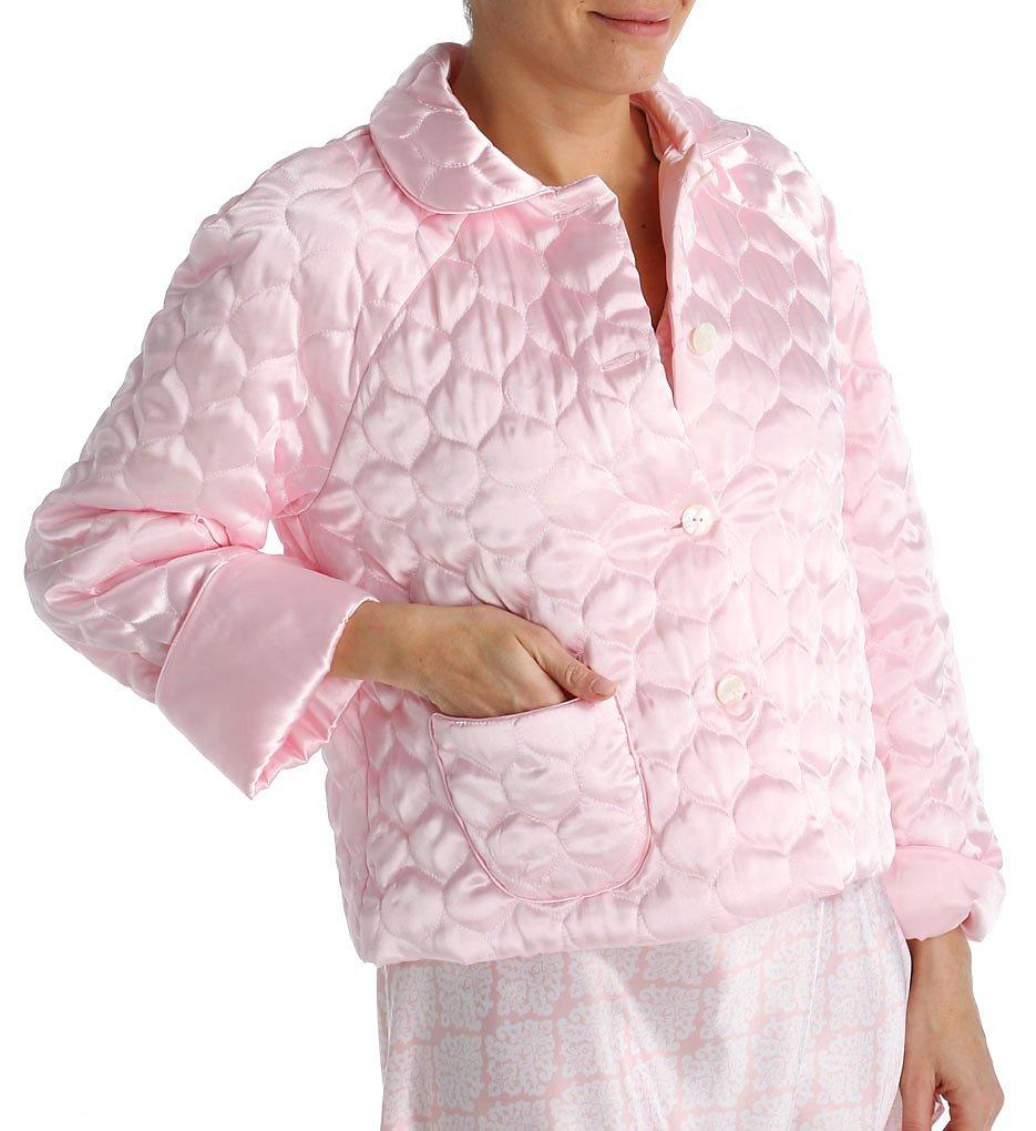 Amanda Rich Button Front Satin Bed Jacket (401QBJ) XL/Pink by Amanda Rich