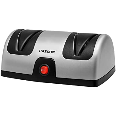 Knife Sharpener, Kasonic Professional 2-Stage Electric Knife Sharpener for Kitchen; Quickly Sharpening, Repair/Restore/ Polish Blades, Diamond Coated Sharpening System, ETL- Listed, Easy to Use