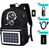 Solar Luminous Backpack with Detachable Solar Panel & USB Charging Port & Power Bank & Anti