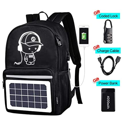 38afb371b2a1 Solar Luminous Backpack with Detachable Solar Panel   USB Charging Port    Power Bank   Anti