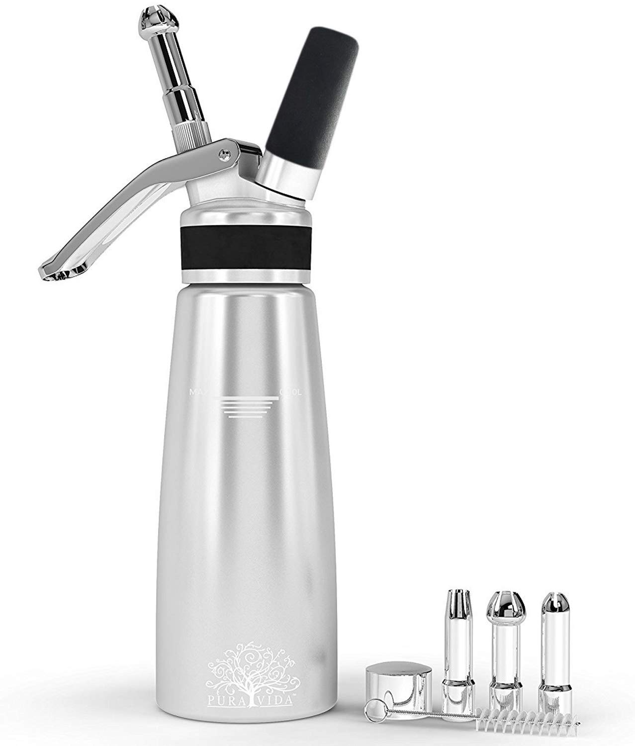 Pura Vida Professional Whipped Cream Dispenser Stainless Steel Decorating Tips – Durable Aluminum Whipped Cream Canister - Perfect Cream Whipper Maker for Gift, Dishwasher Safe Whip Cream Dispensers