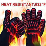 Comenzar Extreme Heat Resistant Grill Gloves, Premium Insulated & Silicone Lined Aramid Fiber Mitts for Cooking, BBQ, Frying & Baking ,Professional Indoor Outdoor Kitchen & Oven Accessories
