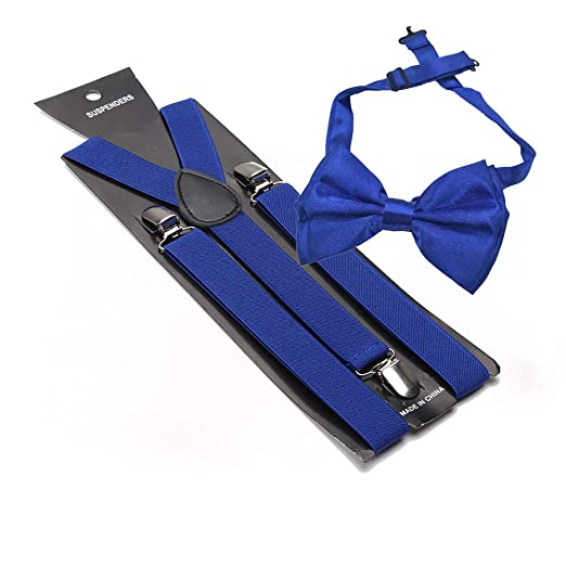 6f9f6420e26 Amazon.com  Royal Blue Suspender and Bow Tie Set Adjustable Suspenders  Bowtie By LAFashionist  Clothing