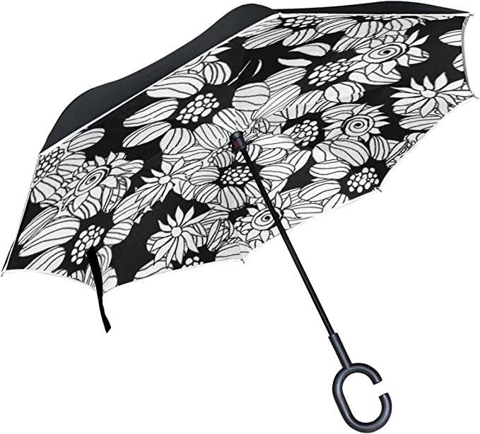 Geometric Ethnic Mandalas Pattern Double Layer Windproof UV Protection Reverse Umbrella With C-Shaped Handle Upside-Down Inverted Umbrella For Car Rain Outdoor