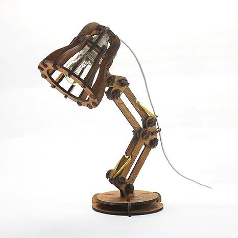 wshfor Lámpara de mesa de madera de roble, lámpara de mesa ...