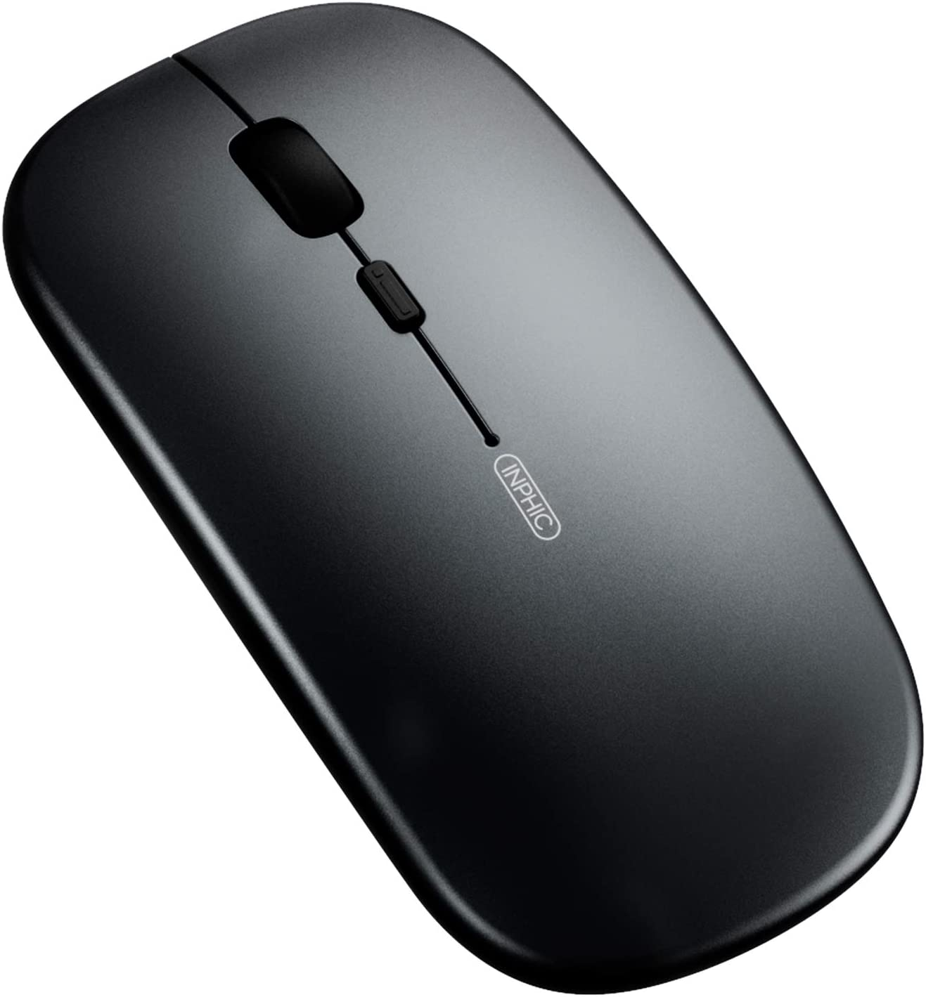 Bluetooth Mouse, Inphic Rechargeable Wireless Mouse Tri-Mode (Bluetooth 5.0/4.0+2.4ghz) with Ultra-Slim and Silent Click, 1600dpi 3 Adjustable Optical Portable Mouse for Pc MacBook Ipad Os Black