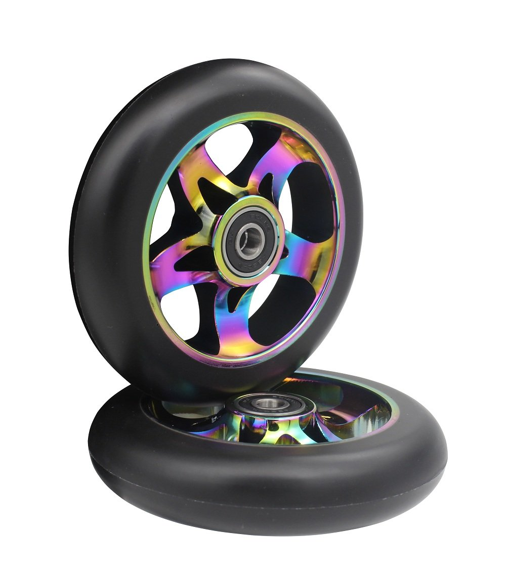 aibiku 110mm Pro Stunt Scooter Wheel with Abec-9 Bearings Fit for Fuzion/Envy/MGP/Lucky TFOX/Vokul Pro Scooters - Colorful(Pair)
