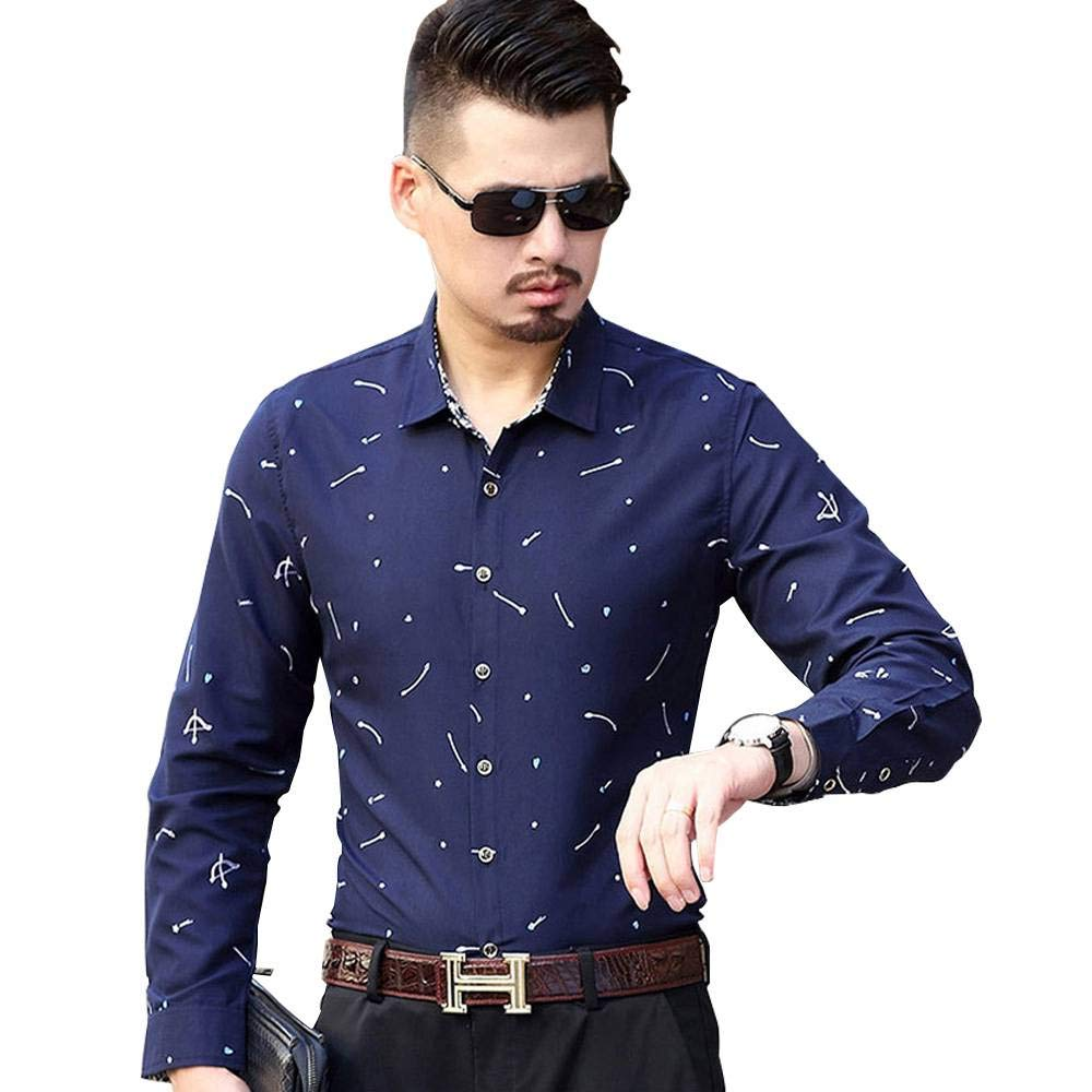 Baby Blue,3XL QINGDs Autumn Fashion Printing Business Casual New Trend Mens Long-Sleeved Shirt