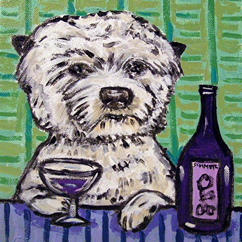 (Westie at the Wine Bar West Highland White terrier dog art tile coaster gift)
