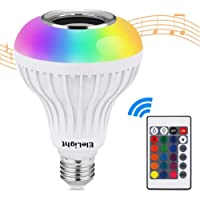 EleLight Light Bulb Speaker LED E27 Wireless Music12W 220V Bulb RGB Bluetooth Lamp Lighting Remote Control Light for Stage, Home, Bedroom, Party