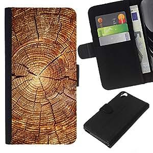 Protector de cuero de la PU de la cubierta del estilo de la carpeta del tirón BY RAYDREAMMM - HTC Desire 820 - Bloque de madera del patrón