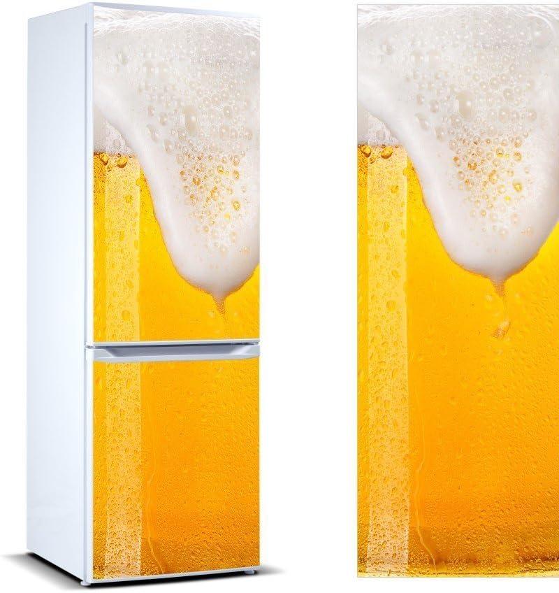 Oedim Vinilo para Frigorífico Cerveza Espumosa 185x60cm | Adhesivo Resistente y Económico | Pegatina Adhesiva Decorativa de Diseño Elegante